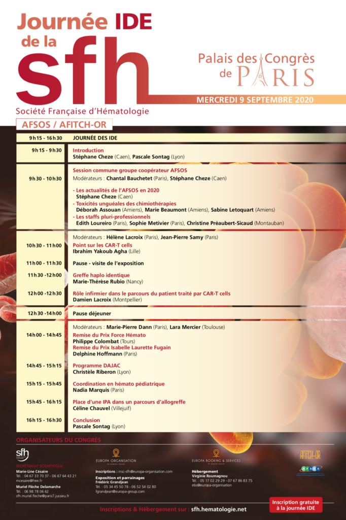 Programme Journée IDE de la SFH - 9 septembre 2020