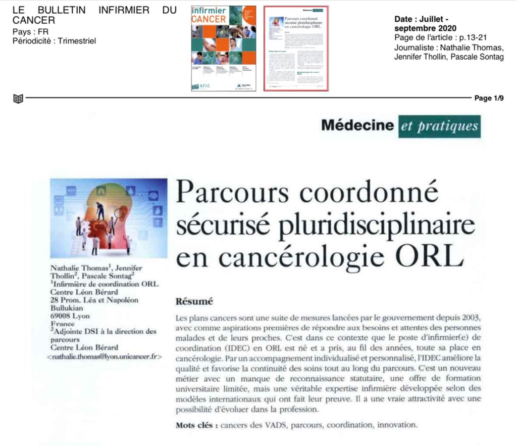 Parcours coordonné sécurisé pluridisciplinaire en cancérologie ORL