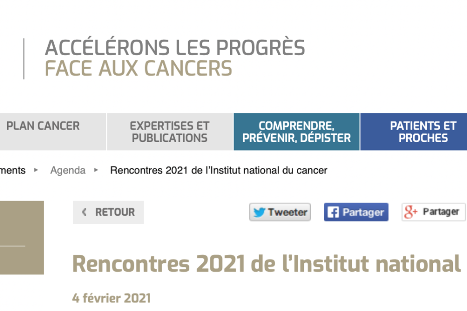 Rencontres de l'Institut national du cancer 2021